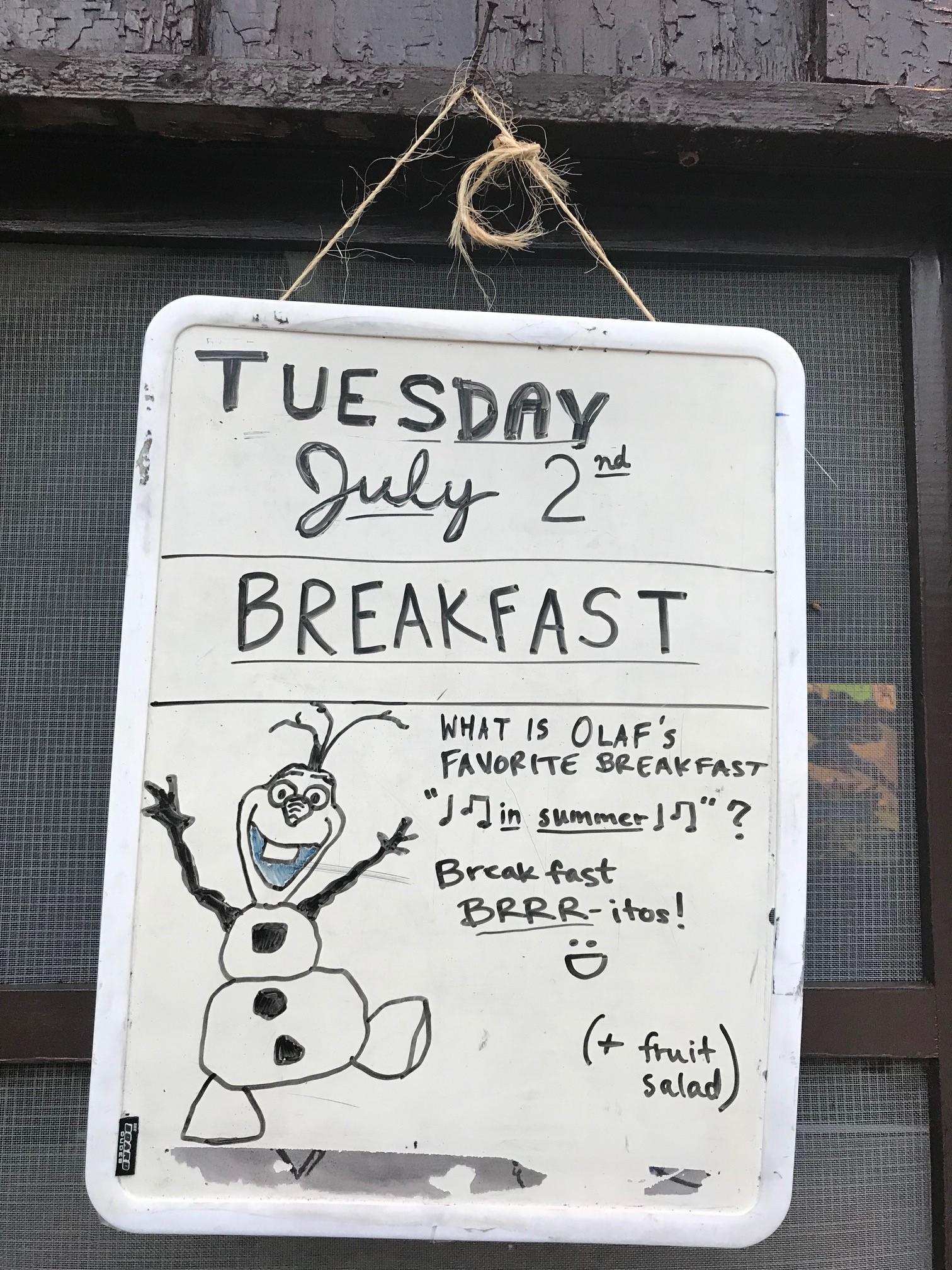Tues Breakfast